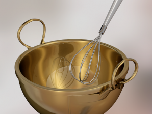 Photo of a pot and whisk